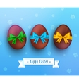 easter chocolate egg with ribbon on blue vector image vector image