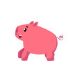 flat pink stylized cartoon pig vector image