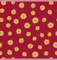 funny orange daisy flowers seamless red background vector image