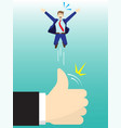 giant hand flicking businessman up high by thumb vector image vector image