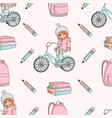 girl on bike school seamless pattern vector image vector image