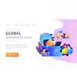 global network connection concept landing page vector image vector image