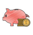 grated piggy to save money and coins cash currency vector image vector image