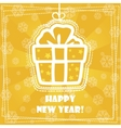 greeting card Happy New Year gift vector image vector image