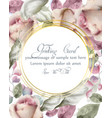 greeting card with watercolor flowers background vector image