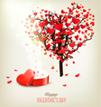 Heart shaped tree and a gift box Valentines day vector image vector image