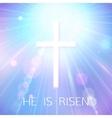 hi is risen happy easter blue background vector image