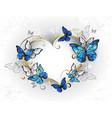 jewelry heart with butterflies morpho vector image vector image