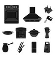 kitchen equipment black icons in set collection vector image