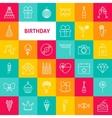 Line Birthday Icons vector image