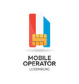 luxemburg mobile operator sim card with flag vector image vector image