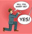 marriage proposal pop art vector image vector image