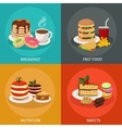 Meal Tower Square Icon Set vector image vector image