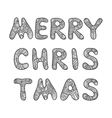 Merry Christmas lettering Adult coloring book vector image