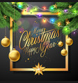 merry christmas on black vector image vector image