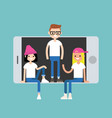 millennial friends sitting and standing inside vector image vector image