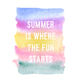 Motivation poster Summer is where the fun started vector image