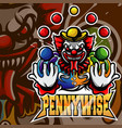 pennywise clown mascot logo vector image