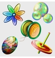 Pinwheel bubbles ball and other toys Five items vector image vector image