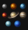 planet systems realistic universe objects stars vector image