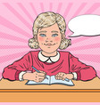 pop art smiling schoolgirl doing homework vector image vector image