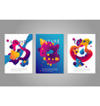 posters set with abstract liquid forms vector image