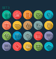 Round Thin Icon with Shadow Set 3 vector image