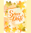 save the date in orange on background decorated vector image