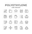 set line icons polyethylene or polythene vector image vector image