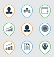set of 9 human resources icons includes wallet vector image vector image