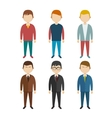 Set of flat human characters young men on white vector image vector image