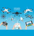 set of modern air drones and remote control vector image vector image