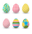 set realistic eggs on white background easter vector image