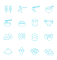 Thin lines icon set - Eastern food vector image vector image