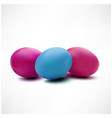 three colorful easter eggs isolated on white vector image