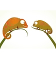 Two Colorful Lizards Sitting on Grass Animal vector image vector image