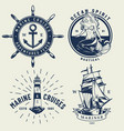 vintage monochrome nautical logos set vector image vector image