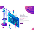 web site application development landing page vector image vector image