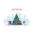 winter holidays in the city new year and christmas vector image