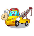 with money bag cartoon tow truck isolated on rope vector image vector image