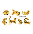 yellow black cats collection vector image vector image