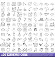 100 extreme icons set outline style vector image vector image