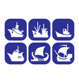 a set of icons with images of different ships vector image