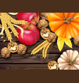 autumn harvest card realistic with pumpkin vector image vector image