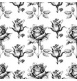 black and white seamless pattern hand drawn roses vector image vector image