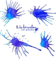 Blue watercolor blots set vector image vector image