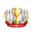 bowling game award ball with and white vector image vector image