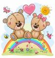 cartoon bears are sitting on rainbow vector image vector image