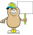 cartoon potato holding a sign vector image vector image