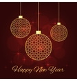 christmas balls red background vector image